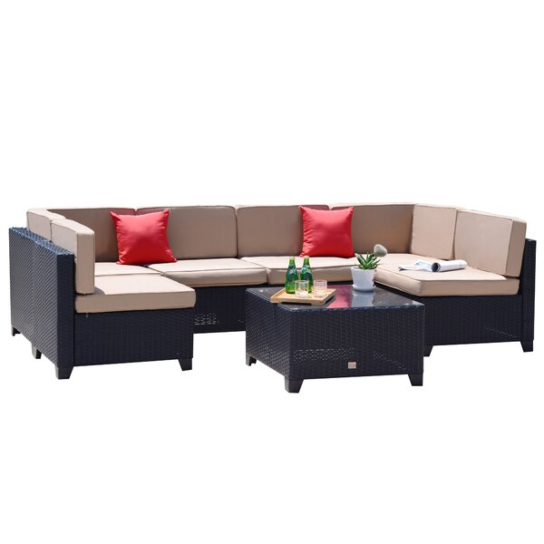 Corinth 7 Piece Rattan Sectional Seating Group with Cushions by Zipcode Design