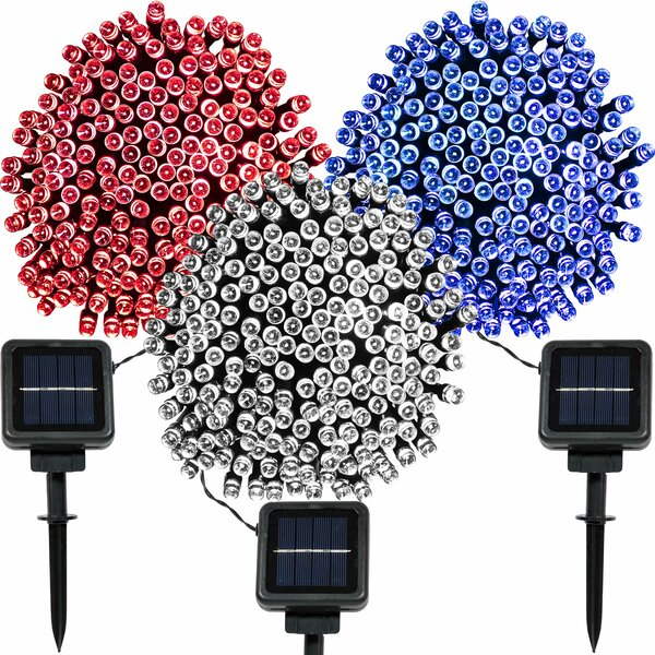 LED Strands Patriotic 100 Light Solar String Light by The Holiday Aisle