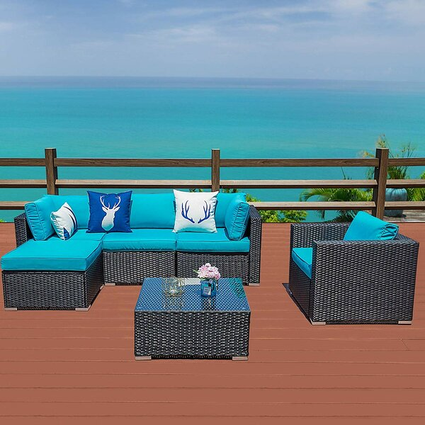 Suat Outdoor 6 Piece Rattan Sectional Seating Group with Cushions by Latitude Run