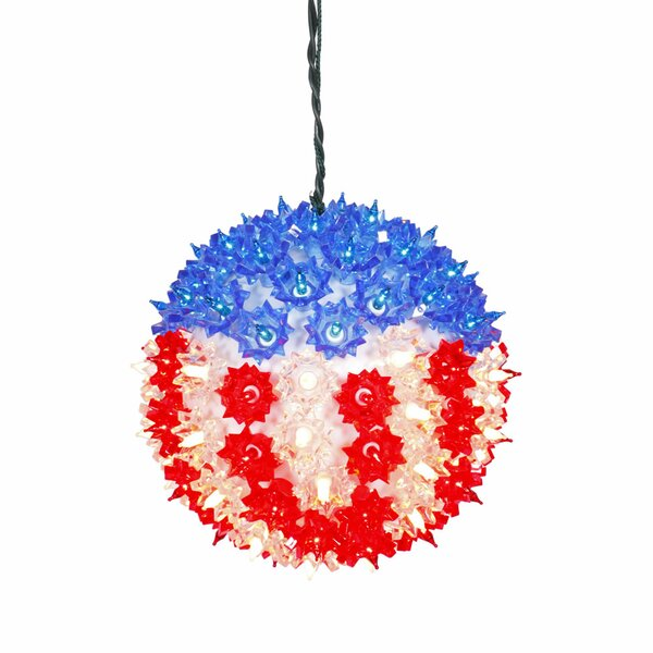 U.S.A. Flag Lighted Hanging Star Sphere Christmas Decoration by Vickerman