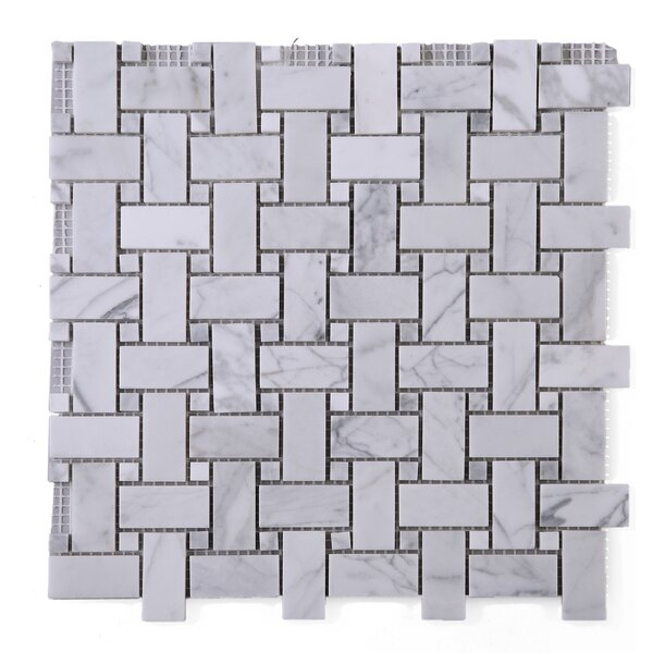 Link Carrarra Marble Mosaic Tile in White by Multile