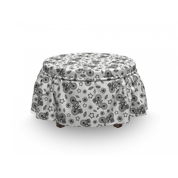 Bicycle Flowers Stars In 2 Piece Box Cushion Ottoman Slipcover Set By East Urban Home