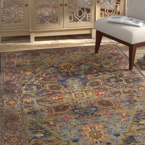 Parmenter Hand-Knotted Green/Purple Area Rug by Bungalow Rose