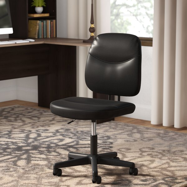 Armless Desk Leather Office Chair by Symple Stuff