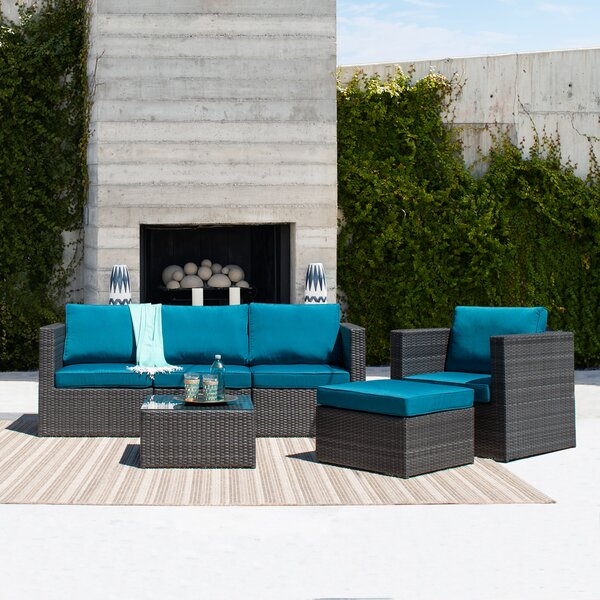 Mayores 6 Piece Rattan Sectional Seating Group with Cushion by Highland Dunes