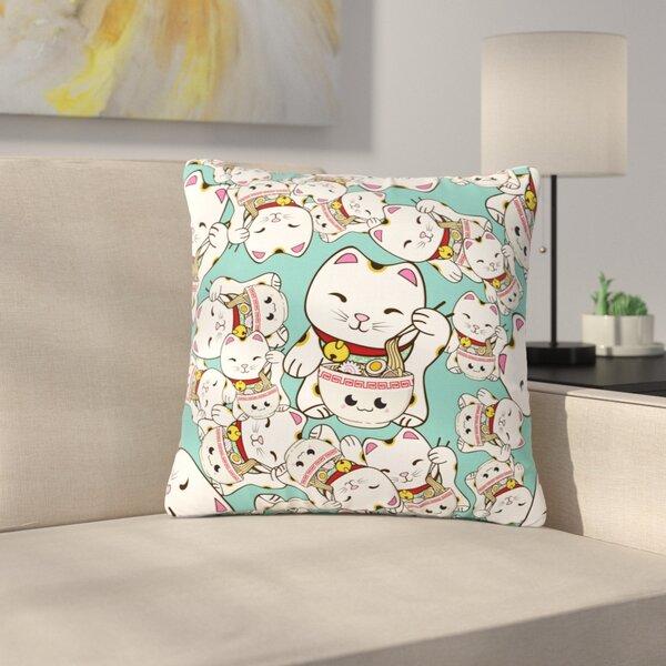 Juan Paolo Ramen Cats Outdoor Throw Pillow by East Urban Home
