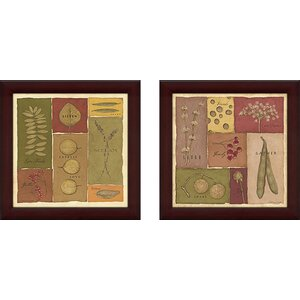 Organic (Words) II' 2 Piece Framed Graphic Art Print Set Under Glass by August Grove