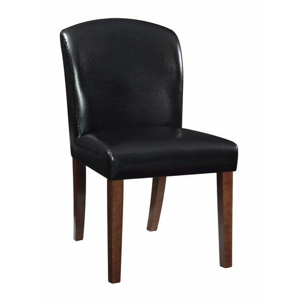 Hofer Genuine Leather Upholstered Dining Chair (Set of 2) by Winston Porter