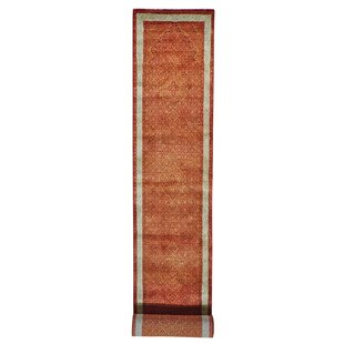 Online Reviews One-of-a-Kind Borkowski Tabriz Mahi Hand-Knotted Runner 2'7 x 16'8 Wool/Silk Orange Area Rug By Isabelline