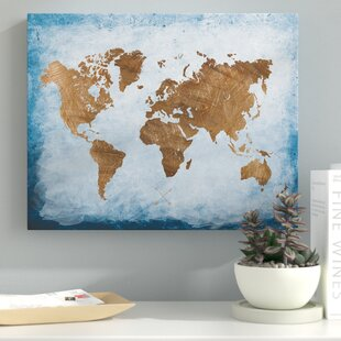 Blue world map canvas art youll love wayfair washy world map oil painting print on wrapped canvas gumiabroncs Choice Image
