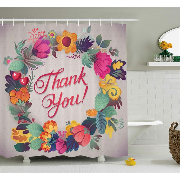 Graves Thank You Decor Ceramic Shower Curtain by Ebern Designs