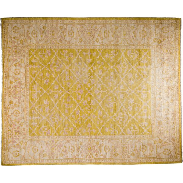 One-of-a-Kind Oushak Hand-Knotted Yellow Area Rug by Darya Rugs