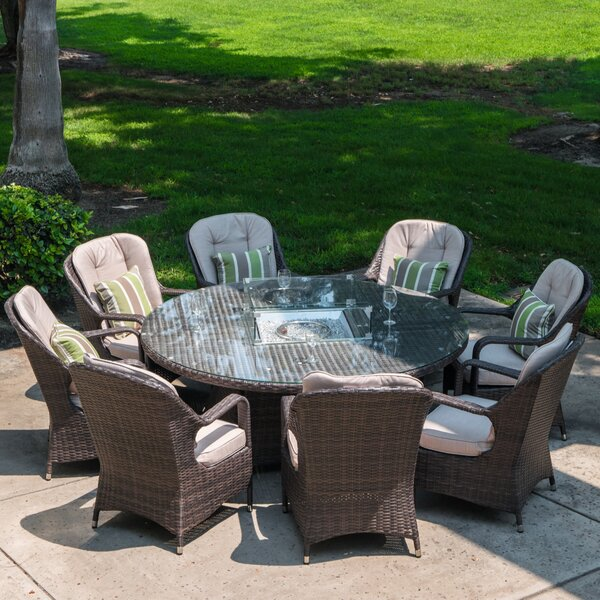 Flanagan 9 Piece Dining Set with Cushions and Firepit Bayou Breeze W001305166