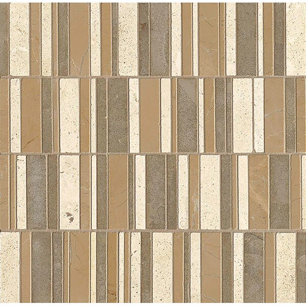 Random Sized Limestone Mosaic Tile in Honed Blend/Brown by Bedrosians