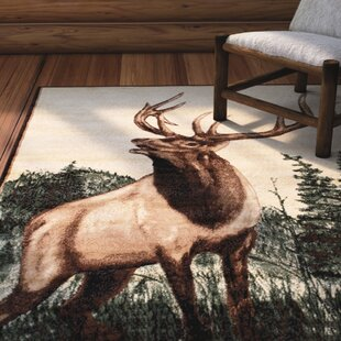 Lacour High Quality Woven Ultra-Soft Traditional Southwest Wilderness Elk Theme Berber Area Rug By Loon Peak