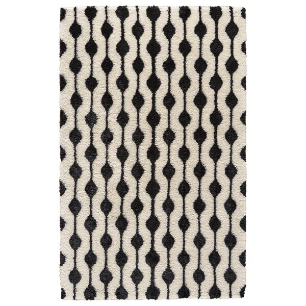 Reider Hand-Tufted White/Black Area Rug by Bloomsbury Market