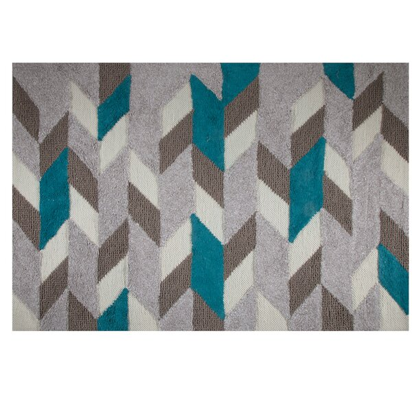 One-of-a-Kind Limoges Hand-Woven Teal/Brown Area Rug by George Oliver