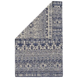 Where buy  Reiber Hand-Woven Wool Cobalt/White Area Rug By Bloomsbury Market