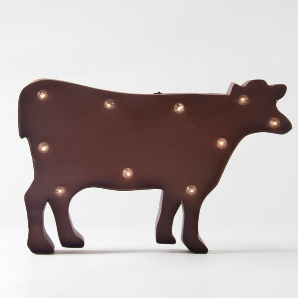 Rusty Marquee LED Lighted Cow Sign Wall Décor by Glitzhome
