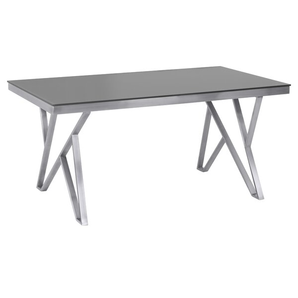 Haleigh Tempered Glass Top Contemporary Dining Table by Orren Ellis