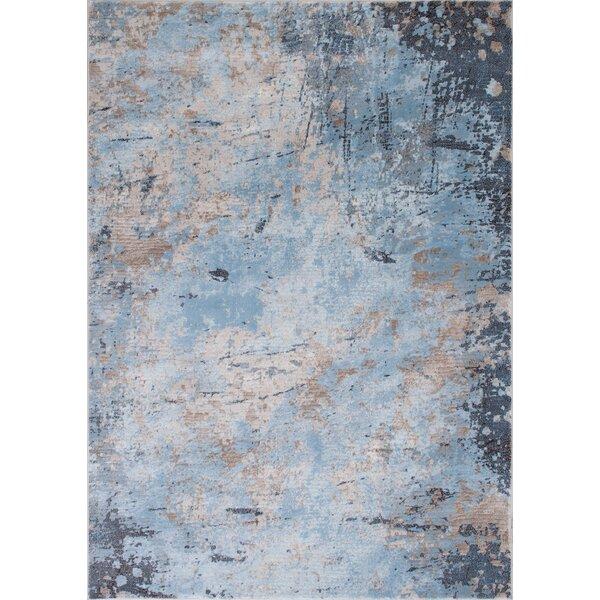 Fantine Abstract Ice Blue Area Rug by 17 Stories