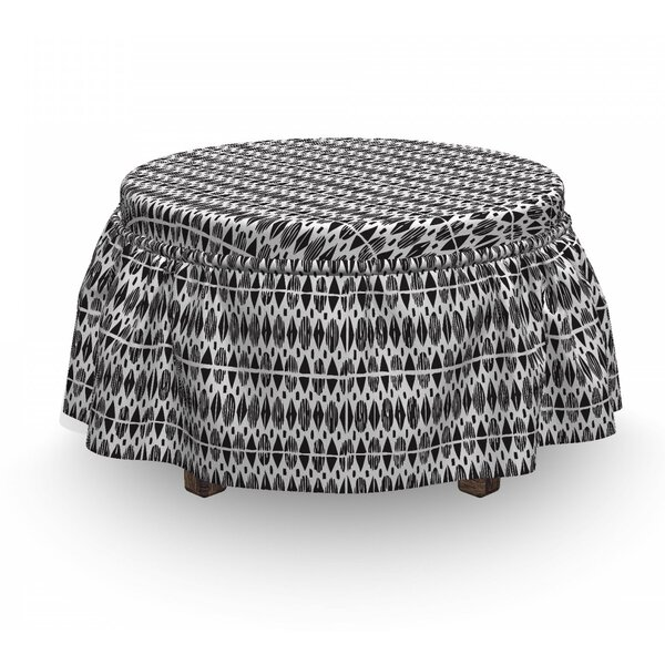 Oval Shapes Ottoman Slipcover (Set Of 2) By East Urban Home
