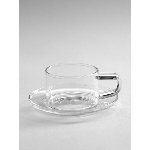 Rakestraw Glass Coffee Mug with Saucer by Orren Ellis