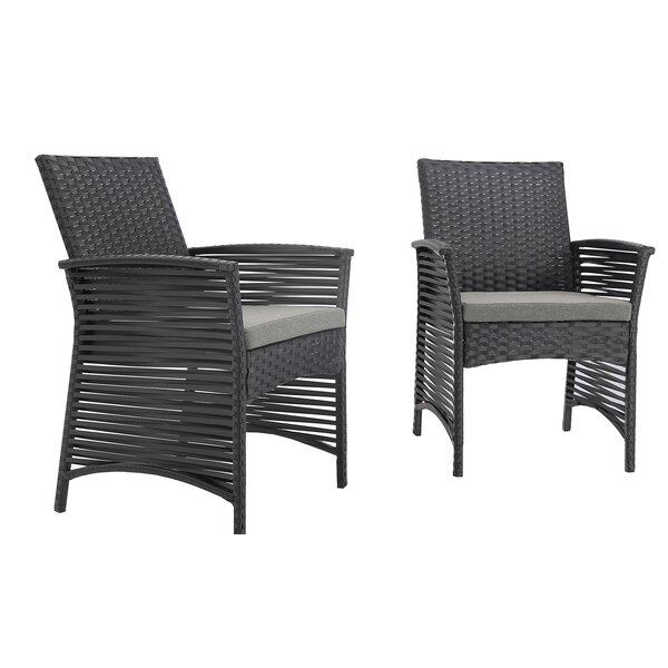 ClipperCove Backyard Pool Patio Steel Frame Chair with Cushions by Bay Isle Home