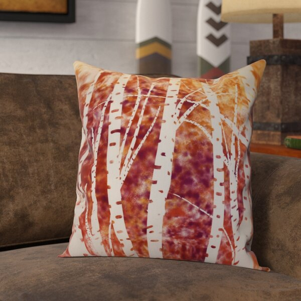 Brookfield Birch Trees Floral Outdoor Throw Pillow by Loon Peak