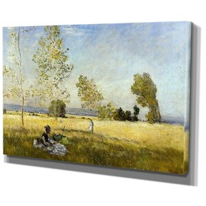 'Meadow at Bezons' by Claude Monet Painting Print on Wrapped Canvas by Wexford Home