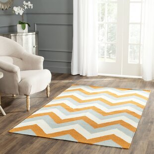 Lily Handwoven Flatweave Wool/Cotton Gray/Orange Area Rug by Latitude Run