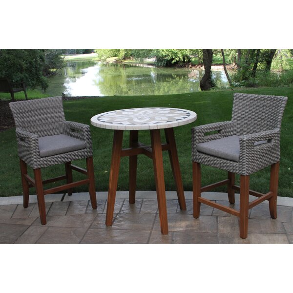 Jeffries 3 Piece Bistro Set with Cushions by Alcott Hill