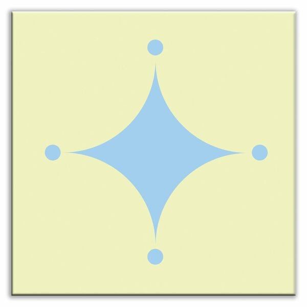 Folksy Love 4-1/4 x 4-1/4 Glossy Decorative Tile in A-boo Light Blue-Yellow by Oscar & Izzy