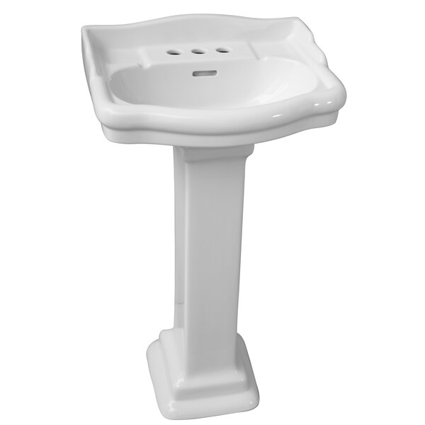 Stanford 660 Vitreous China Rectangular Pedestal Bathroom Sink with Overflow by Barclay