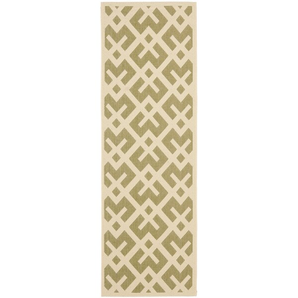 Quinlan Green / Bone Outdoor Rug by Mercury Row