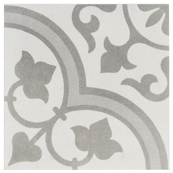 Sintra Ornate 9 x 9 Porcelain Field Tile in Matte Silver by Splashback Tile