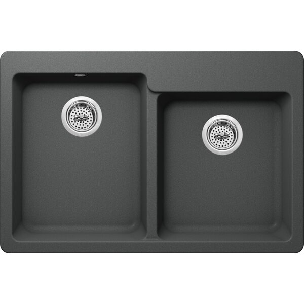 33 L x 22 W Double Bowl Kitchen sink by Soleil