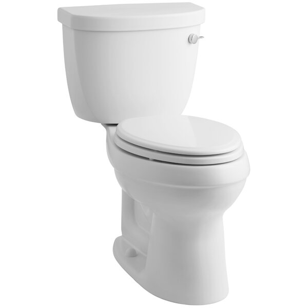 Cimarron Comfort Height Two-Piece Elongated 1.28 GPF Toilet with Aquapiston Flush Technology, Right-Hand Trip Lever and Insuliner Tank Liner by Kohler