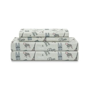 Piatt Microfiber Parisian Puppy Print Percale Sheet Set ByWinston Porter