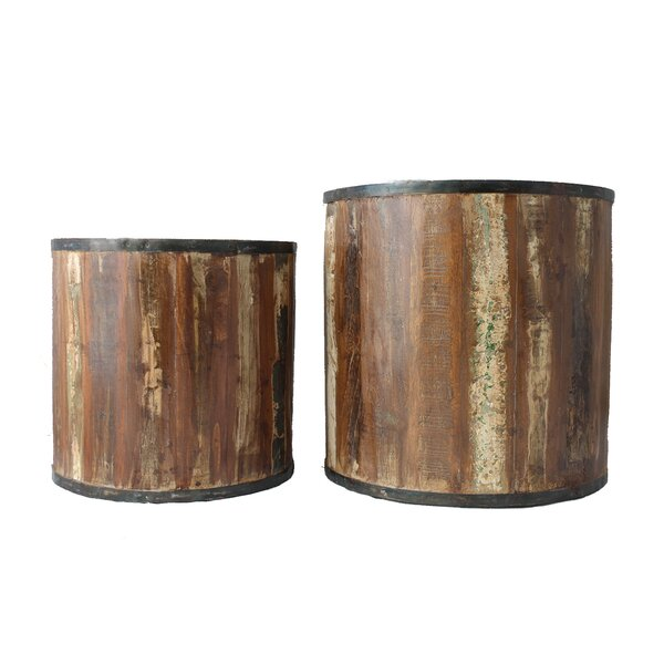 Cordelia 2-Piece Wood Pot Planter Set by Millwood Pines