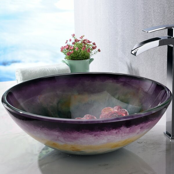 Impasto Glass Circular Vessel Bathroom Sink by ANZZI