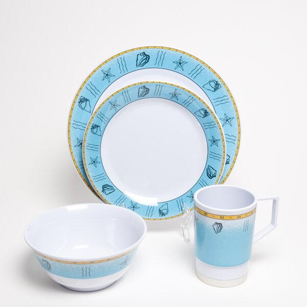 Decorated Offshore Melamine 16 Piece Dinnerware Set, Service for 4 by Galleyware Company