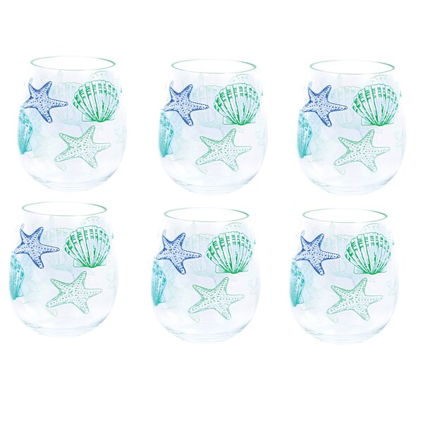 Idlewild Shell Stemless Plastic 18 oz. Wine Glass (Set of 6) by Highland Dunes