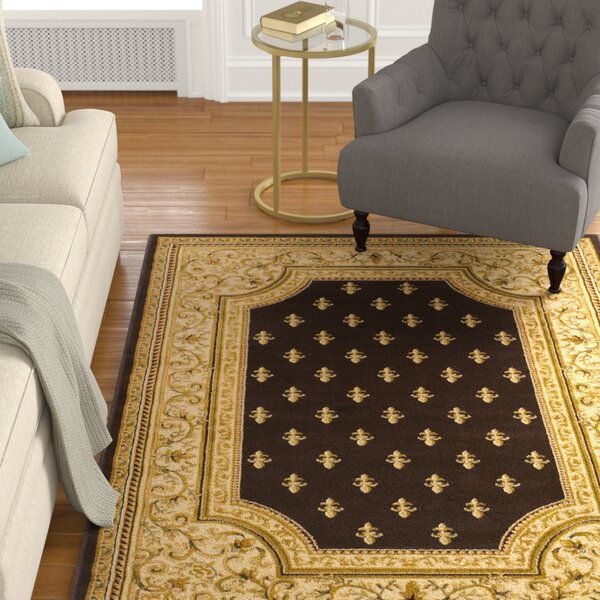 Arledge Classic Dark Brown/Khaki Area Rug by Charlton Home