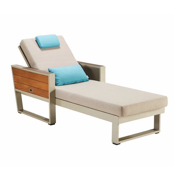 Mayle York St Lucia Sun Lounger Reclining Teak Chaise Lounge with Cushion