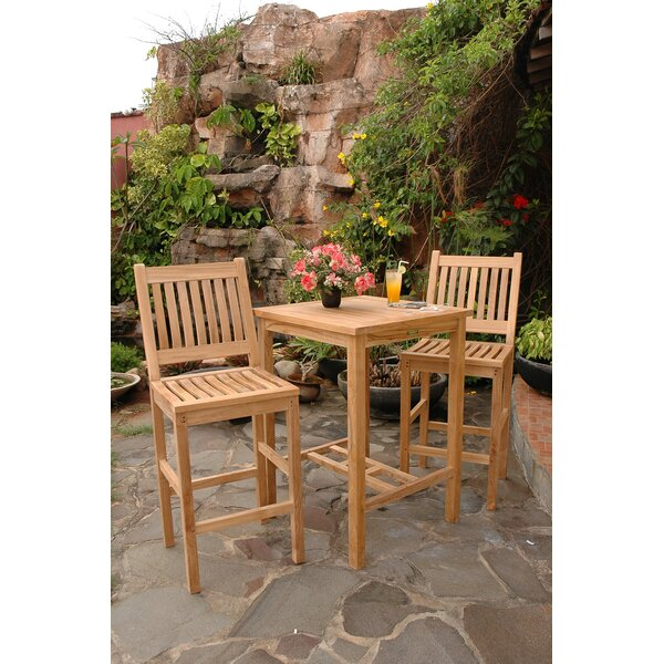 Avalon 3 Piece Teak Bar Height Dining Set by Ander
