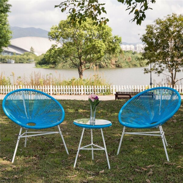 Zayden Acapulco Sun 3 Piece Rattan Conversation Set by Bungalow Rose