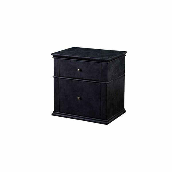 Gowan Faux Leather Upholstered Wooden 2 Drawer Nightstand by Gracie Oaks