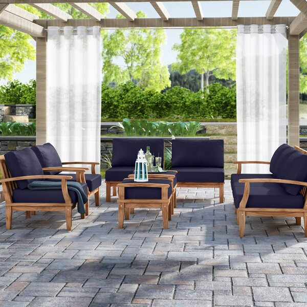 Elaina 9 Piece Teak Sectional Set with Cushions by Beachcrest Home
