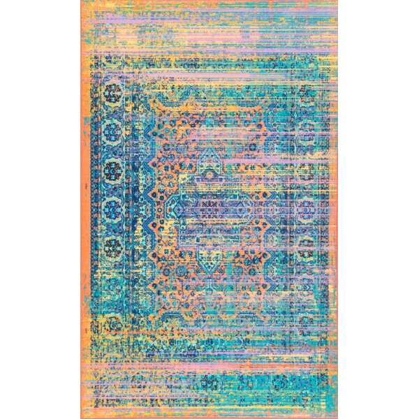 Pat Blue/Yellow/Teal Area Rug by Bungalow Rose